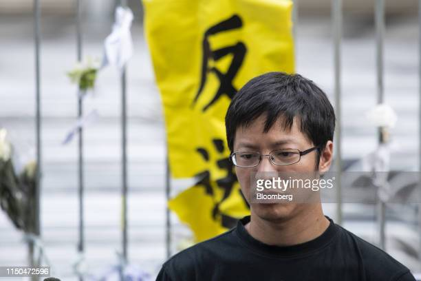 Wong Yikmo vice convener of the Civil Human Rights Front attends a news conference outside the Central Government Offices in Hong Kong China on...