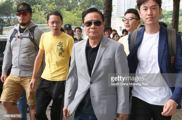 Wong Yukman with Civic Passion members Lee ChingHei Alvin Cheng Kammun and lawmaker Cheng Chungtai appear at Eastern Court in Sai Wan Ho The former...