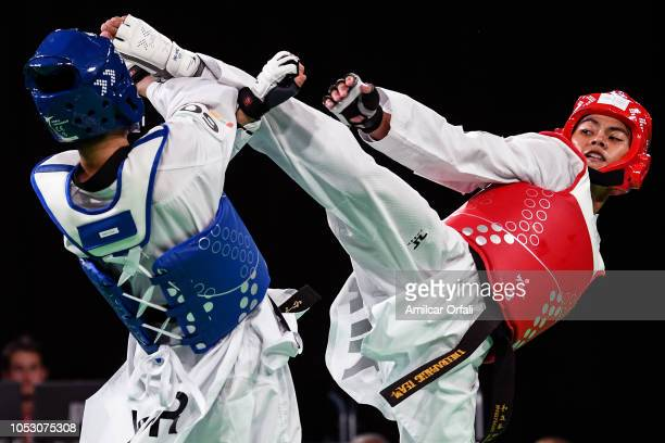 Wonhee Cho of Korea and Nareupong Thepsen Men 63kg Gold Medal Contest during day 3 of Buenos Aires Youth Olympics 2018 at Oceania Pavilion in the...