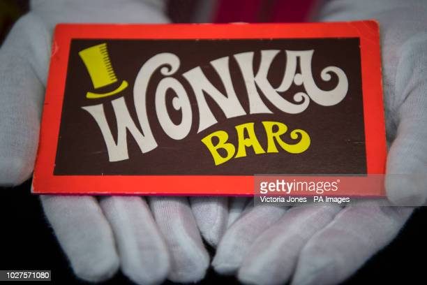 A Wonka Bar from Willy Wonka and the Chocolate Factory at the Prop Store film memorabilia exhibition at the BFI IMAX at Waterloo in central London