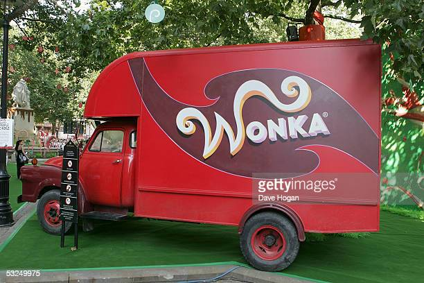 Wonka truck is parked at the UK Premiere of Charlie And The Chocolate Factory at the Odeon Leicester Square on July 17 2005 in London England