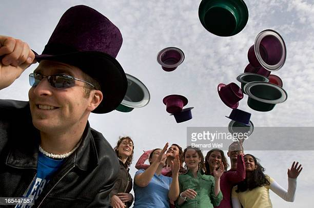 Wonka_BW01_033005_Ryan Doucette , dresses the part of Willy Wonka as fellow students have fun with their Wonka hats, March 30, 2005. Students at the...