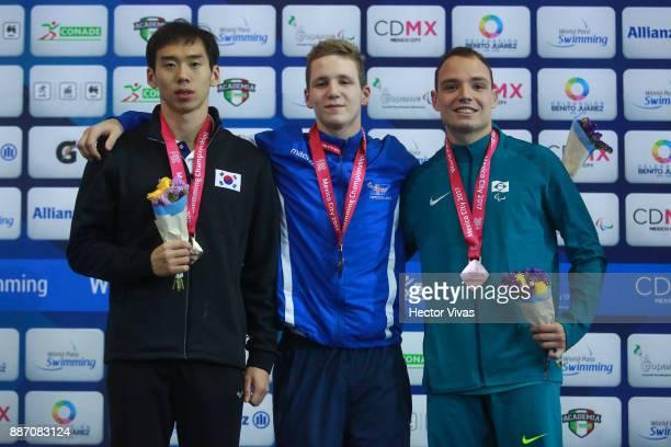 Wonsang Cho of Republic of Korea silver medal, Robert Jonsson of Iceland gold medal and Felipe Vila of Brazil bronze medal in Men's 200 m Individual...