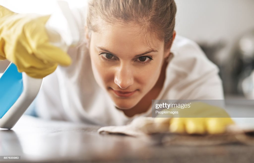 I won't leave a spot behind : Stock Photo