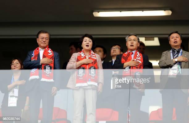 Woo Yoonkeun South Korea's Ambassador to Russia South Korean President Moon Jaein his wife Kim Jungsook and Do Jonghwan minister of Culture Sports...