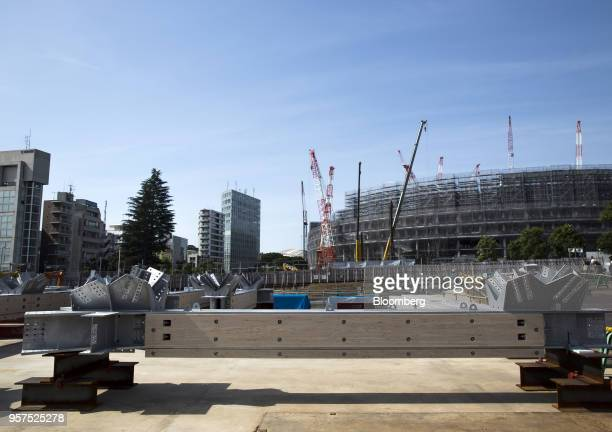 Wood and steel composite frames to be used for the roof of the New National Stadium a venue for 2020 Summer Olympics and Paralympics sit in Tokyo...