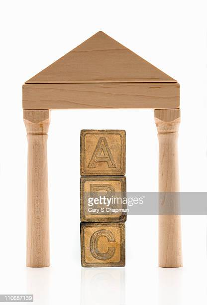ABC wood blocks under wood block roof