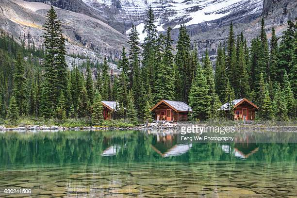 wood cabin at lake o'hara, yoho national park, british columbia, canada - cabaña fotografías e imágenes de stock