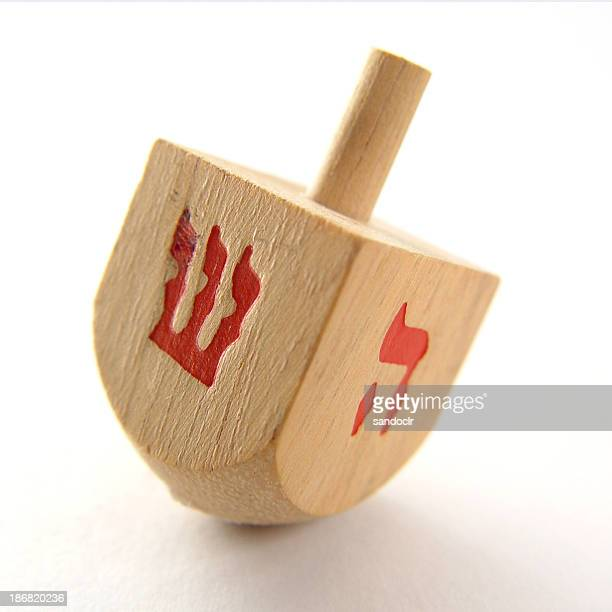 wood dreidel - dreidel stock photos and pictures