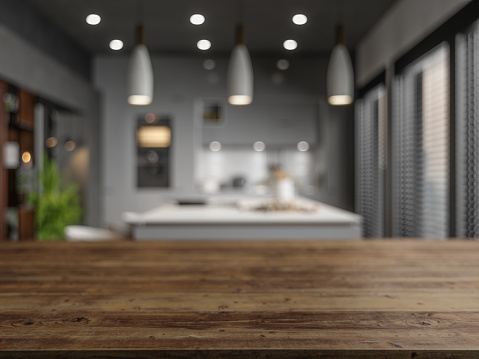 Wood Empty Surface And Kitchen as Background In The Evening 1205485088