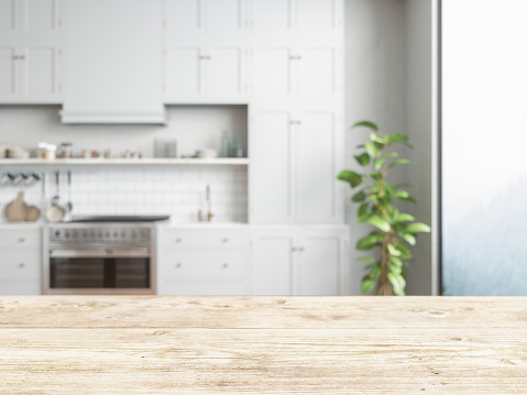 Wood empty surface and kitchen as background 1176716022