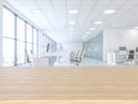 Wood empty surface and office building as background 1136958427