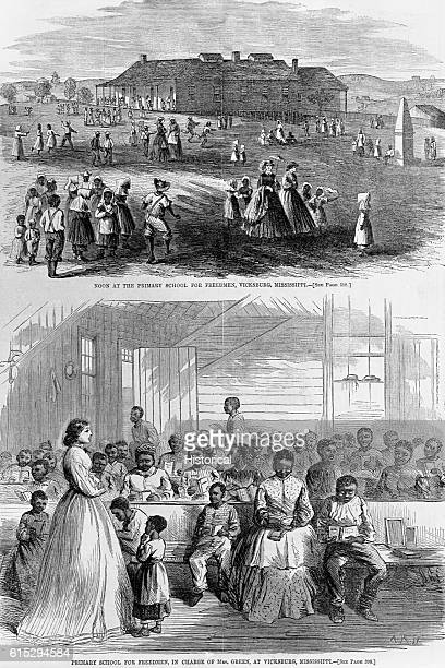 Wood engraved illustrations from the June 23 1866 issue of Harper's Weekly depicting the primary school for freedman or slaves in Vicksburg...