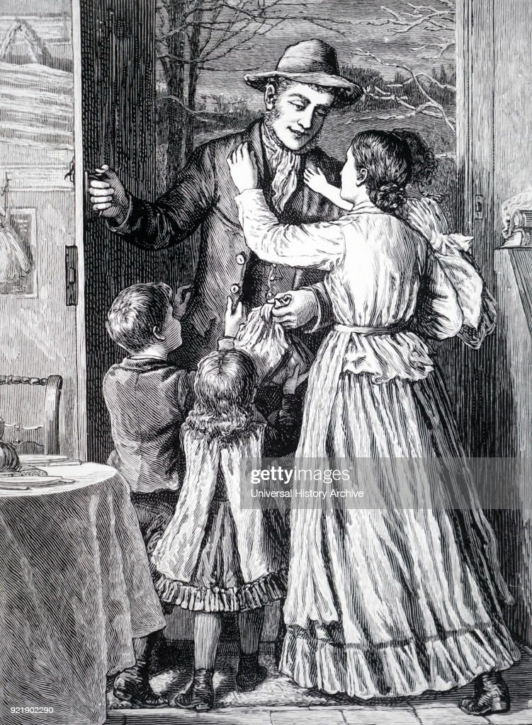 Wood engraving depicting a labourer being greeted by his family as he returns home from work. Dated 19th century.