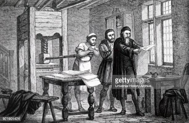 Wood engraving depicting Johannes Gutenberg a German blacksmith goldsmith printer and publisher who introduced printing to Europe Dated 15th century