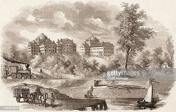 Wood engraving depicts activities on the Charles River in the foreground and the McLean Asylum for the Insane on the hill in the background...