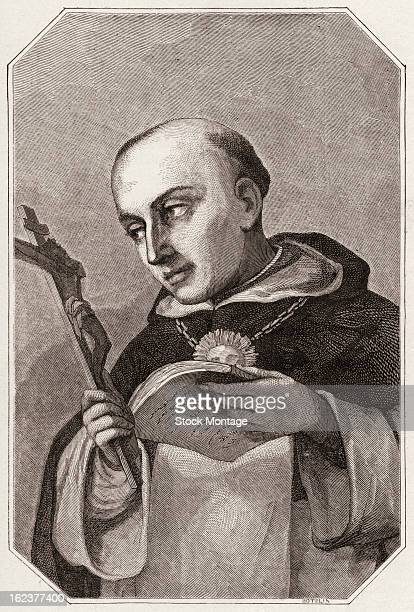 Wood engraving depicts Italian Dominican priest theologian and philosopher Saint Thomas Aquinas 13th century