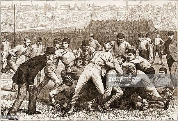 Wood engraving from Harper's Weekly magazine depicts onfield action during a football match between Yale and Princeton on Thanksgiving Day, November...