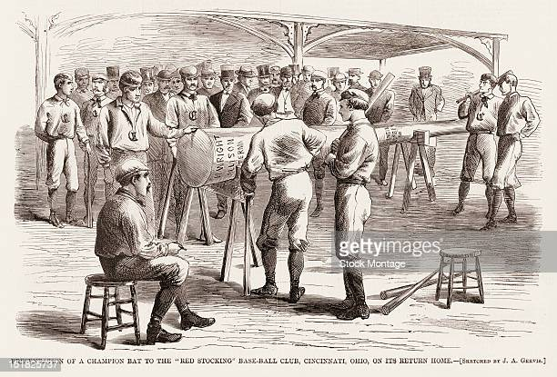 Wood engraving from Harper's Weekly magazine depitcs the 'Presentation of a Champion Bat to the Red Stocking BaseBall Clubon Its Return Home'...