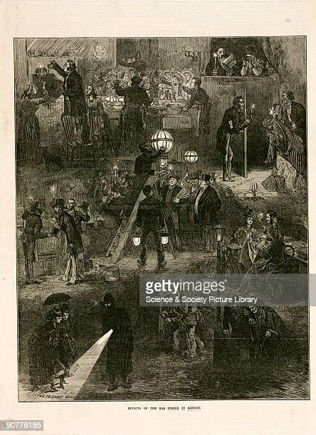 Wood engraving illustrating London during the gas workers strikes of 1898 There is a rush on the purchase of candles which are being used to light a...