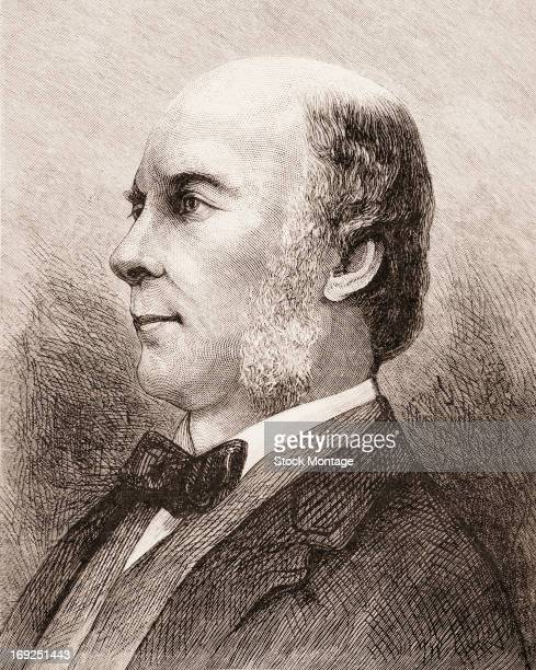 Wood engraving of British scientist Sir Francis Galton mid to late 19th century Known for his work in anthropology he was also the founder of eugenics