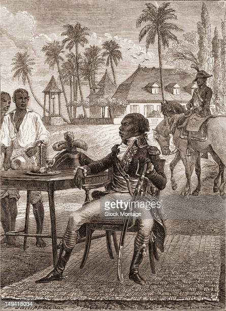 Wood engraving of depicts Haitian military commander General Toussaint Louverture as he sits at an outdoor table late 18th or early 19th century He...