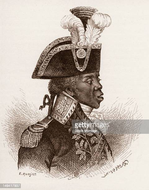 Wood engraving of Haitian military commander General Toussaint Louverture late 18th or early 19th century He was the leader of the successful Haitian...