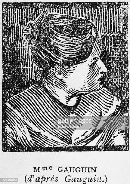 Wood engraving of Mette-Sophie Gauguin after the painting 'Madame Mette Gauguin in Evening Dress' by her husband, French artist Paul Gauguin, circa...
