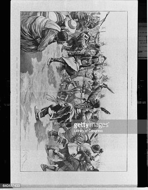 Wood engraving of Sioux Indians in native dress performing the Ghost Dance.