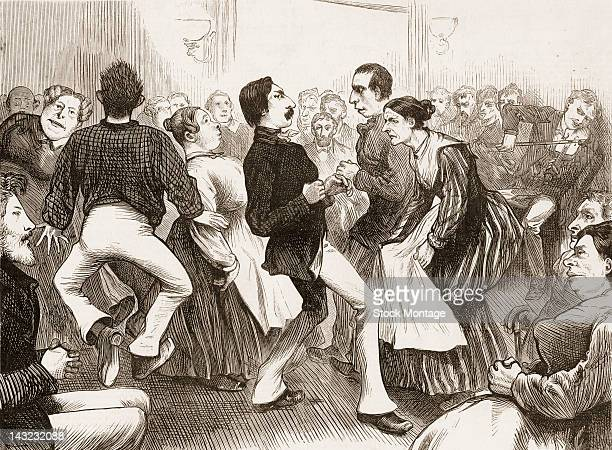 Wood engraving shows patients as they dance at the New York City Lunatic Asylum Hospital Blackwell's Island New York New York circa 1874 Activities...