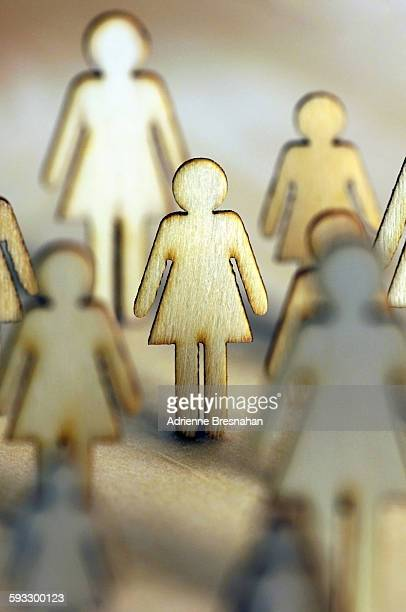 Wood Female Silhouette Standing With Others