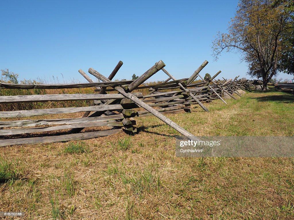 wood fence in Gettysburg : Foto de stock