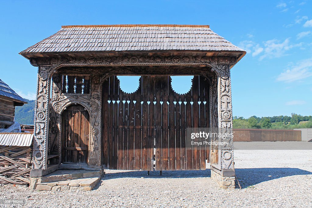 Wood gate from Maramures : Stock Photo