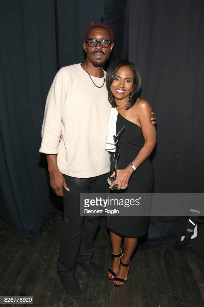 Wood Harris and honoree Suzanne Schank are seen backstage during Black Girls Rock 2017 at NJPAC on August 5 2017 in Newark New Jersey