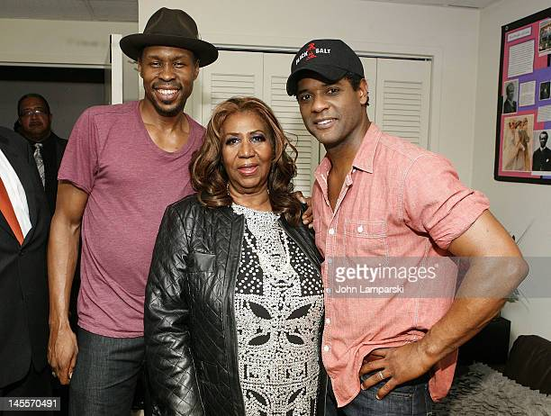 """Wood Harris, Aretha Franklin and Blair Underwood attend """"A Streetcar Named Desire"""" at The Broadhurst Theatre on June 1, 2012 in New York City."""