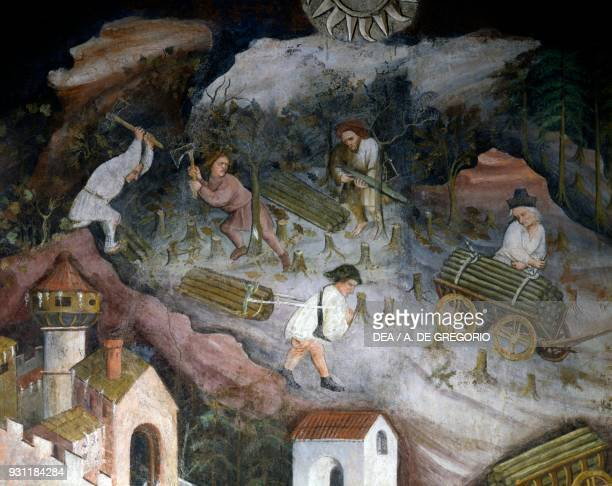 Wood harvesting detail from the Month of December Cycle of the Months 13901400 fresco by Master Venceslao Torre Aquila Buonconsiglio Castle Trento...