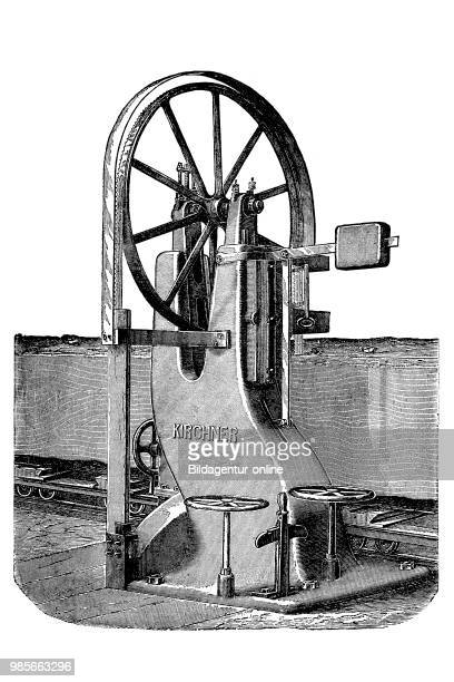 Wood industry band saw by E Kirchner Co LeipzigSellerhausen Germany saw for cutting boards in a certain width industrial product from the year 1880...