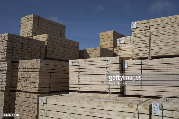 Wood is stacked after being milled at AJ Scott sawmill on March 22 2018 in Doddington England The Doddington North Afforestation project has begun...