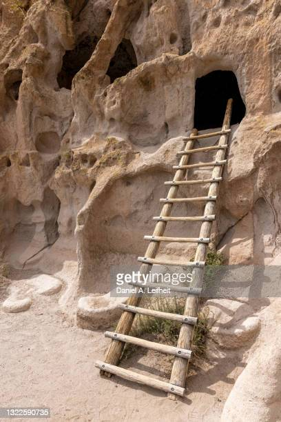 wood ladder at bandelier national monument - pueblo built structure stock pictures, royalty-free photos & images