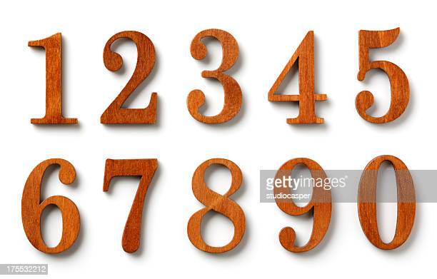 wood numbers - numbers stock photos and pictures