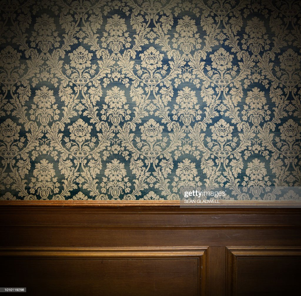 Wood panel and vintage wallpaper design : Stock Photo