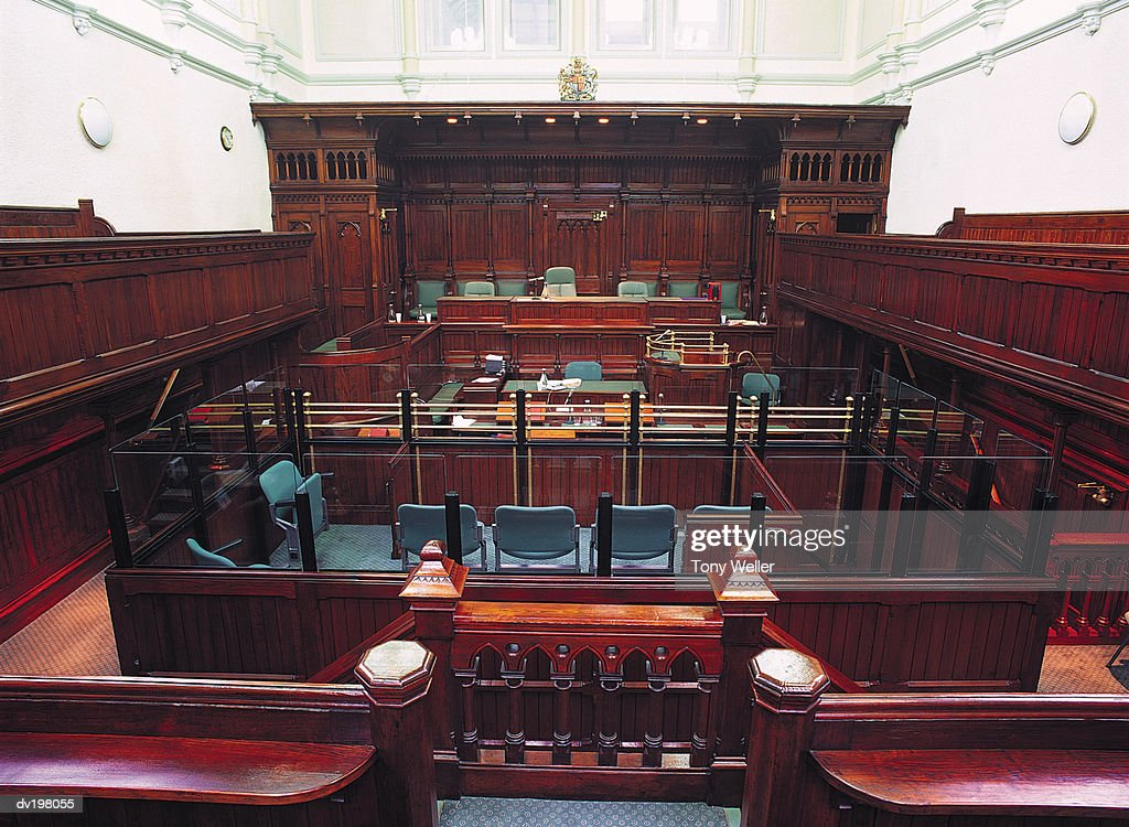 Wood paneled courtroom : Stock Photo