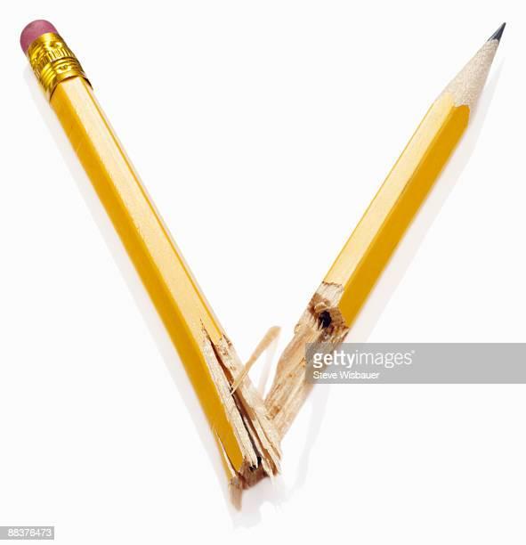 Wood pencil broken in half in anger or frustration
