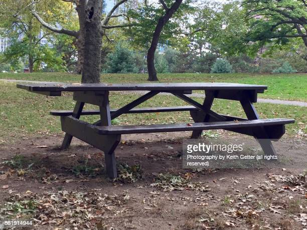A wood picnic table in an urban park