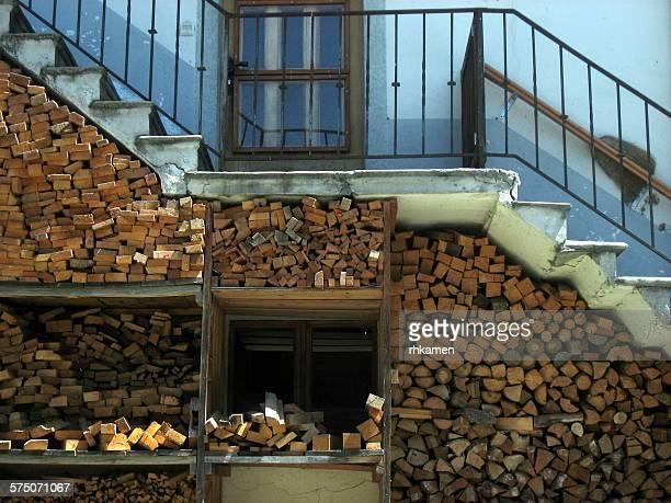 Wood pile, Champsec, Valais, Switzerland
