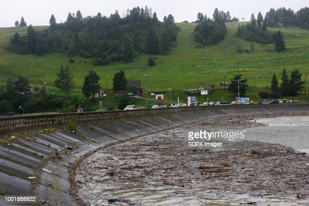 Wood plastic and other waste seen at the Niedzica dam Southern Poland and northern Slovakia on flood alert due to extreme rain falls