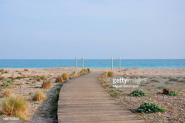 wood road on the beach - castellon province stock pictures, royalty-free photos & images
