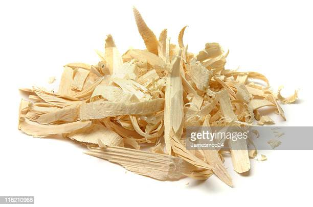 Wood shavings in a pile isolated on white