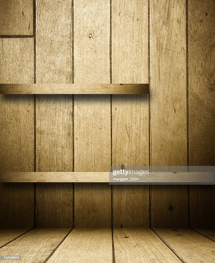 wood sheleves on vintage wooden wall for product display stock photo