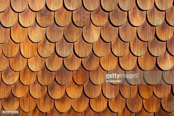 Wood shingles, close-up